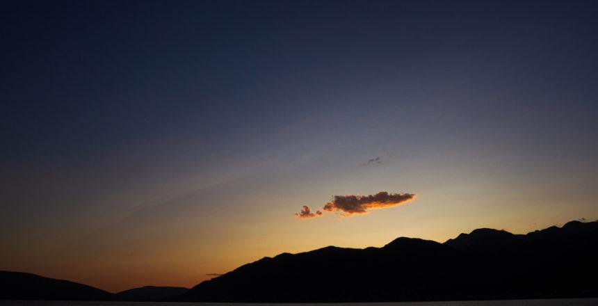 Coucher de soleil sur la baie de Kotor, Monténégro
